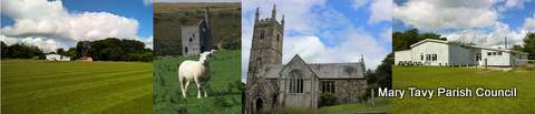 Images of the Coronation Hall, Saint Mary's Church and Wheal Betsy Mine