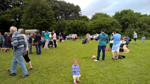 People and dogs at the village show