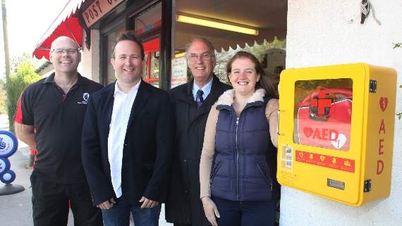 Unveiling the defibrillator at Mary Tavy Post Office